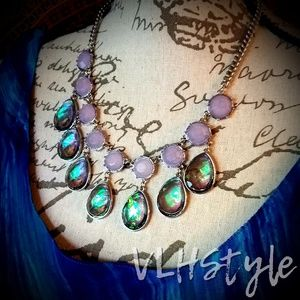 Stunning Purple and Opalescent Jewels Necklace